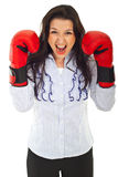Mulher de negócio nervosa Shouting Fotografia de Stock