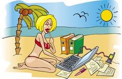 Mulher de negócio no feriado Imagens de Stock