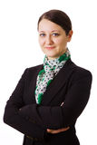 Mulher de negócio no fundo branco Imagens de Stock Royalty Free