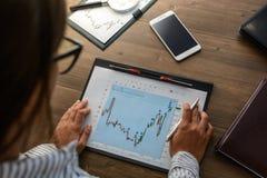 A mulher de negócio no local de trabalho na tabela de madeira do escritório analisa os dados, programações, fixa o preço, faz de  fotografia de stock royalty free