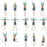 Mulher de negócio no vário exercício simples Ilustração Stock