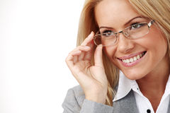 Mulher de negócio nos vidros Imagens de Stock