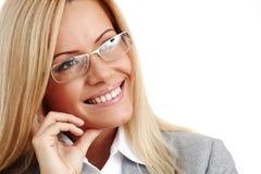Mulher de negócio nos vidros Fotografia de Stock