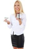 Mulher de negócio nova com hourglass fotos de stock