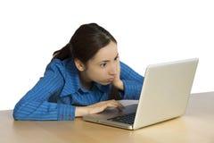 Mulher de negócio nova com olhos chocados Fotografia de Stock