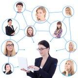Mulher de negócio nova com portátil e sua rede social isolada Fotos de Stock Royalty Free