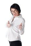 A mulher de negócio nova encantador em uma camisa branca Imagem de Stock