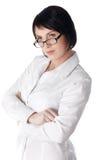 A mulher de negócio nova encantador em uma camisa branca Imagem de Stock Royalty Free