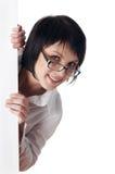 A mulher de negócio nova encantador em uma camisa branca Fotografia de Stock