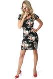 Mulher de negócio nova Mini Dress curto Fotografia de Stock Royalty Free