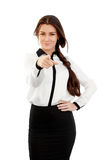 Mulher de negócio nova que aponta o dedo Imagens de Stock Royalty Free