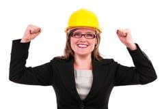 Mulher de negócio nova que aprecia o sucesso Imagem de Stock Royalty Free