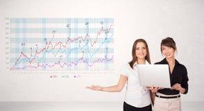 Mulher de negócio nova que apresenta o diagrama do mercado de valores de ação Foto de Stock
