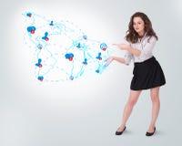Mulher de negócio nova que apresenta o mapa social ilustração stock