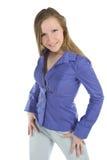Mulher de negócio nova que levanta de encontro ao branco Imagens de Stock Royalty Free