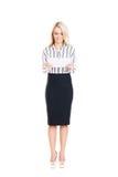 Mulher de negócio nova, segura, bem sucedida e bonita com t Imagens de Stock