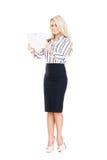 Mulher de negócio nova, segura, bem sucedida e bonita com t Foto de Stock