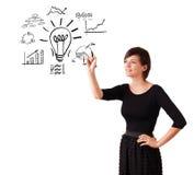 Mulher de negócio nova tirando a ampola com os vários diagramas ilustração do vetor