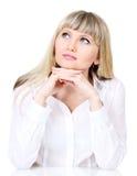 Mulher de negócio pensativa Fotos de Stock Royalty Free