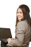 Mulher de negócio positiva com caderno imagem de stock royalty free