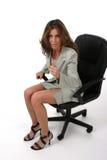 Mulher de negócio que aponta 1 Fotografia de Stock