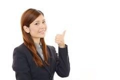 Mulher de negócio que aprecia o sucesso Imagens de Stock