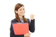 Mulher de negócio que aprecia o sucesso Imagem de Stock Royalty Free