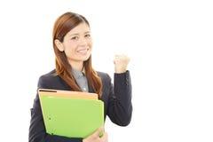Mulher de negócio que aprecia o sucesso Imagens de Stock Royalty Free