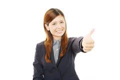 Mulher de negócio que aprecia o sucesso Fotografia de Stock