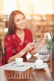 Mulher de negócio que compra em linha Foto de Stock