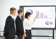 Mulher de negócio que dá a apresentação aos colegas durante a reunião Fotografia de Stock