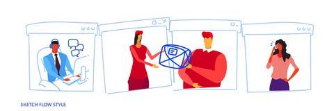 Mulher de negócio que dá o pacote do documento da correspondência à fêmea masculina de envio do conceito da entrega da empresa do ilustração royalty free