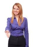 Mulher de negócio que dá sua mão para um aperto de mão foto de stock