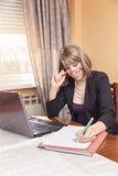 Mulher de negócio que enjyoing seu trabalho Imagens de Stock