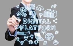 Mulher de negócio que escreve o conceito digital da ideia da plataforma Foto de Stock Royalty Free