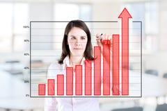 Mulher de negócio que escreve sobre a carta de barra da realização Imagens de Stock