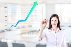 Mulher de negócio que escreve sobre o gráfico da realização. Imagem de Stock Royalty Free