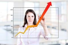 Mulher de negócio que escreve sobre o gráfico da realização. Foto de Stock