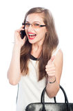 Mulher de negócio que fala no smartphone fotografia de stock royalty free