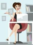 Mulher de negócio que fala no telefone ilustração royalty free
