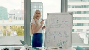 Mulher de negócio que faz a apresentação no whiteboard Mulher à moda nova com escrita longa do cabelo louro no whiteboard quando vídeos de arquivo