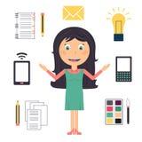 Mulher de negócio que faz muitas tarefas ilustração royalty free