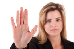 Mulher de negócio que faz o sinal do batente Imagem de Stock