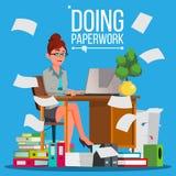 Mulher de negócio que faz o vetor do documento Trabalhador de escritório sobrecarregado stressful Pastas de arquivos Pessoa ocupa ilustração stock