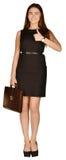 Mulher de negócio que guarda um portfólio que mostra os polegares Imagem de Stock