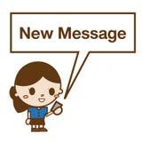 Mulher de negócio que lê uma mensagem de texto Imagens de Stock Royalty Free