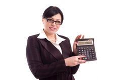 Mulher de negócio que mostra o resultado Fotografia de Stock Royalty Free