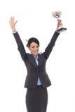 Mulher de negócio que mostra seu troféu grande imagem de stock royalty free