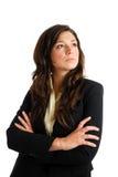 Mulher de negócio que olha afastado com visão do negócio fotos de stock