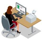 Mulher de negócio que olha a tela do portátil Mulher de negócio no trabalho Mulher que trabalha no computador Ordem de China Fotos de Stock